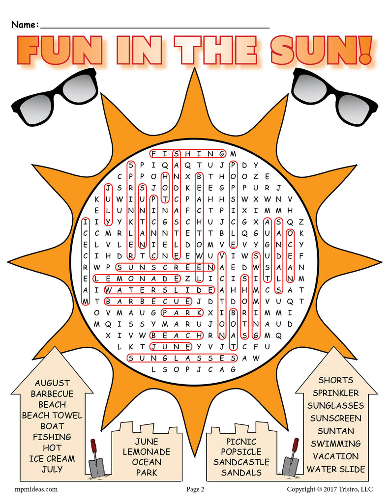 This is a picture of Remarkable Printable Summer Word Searches
