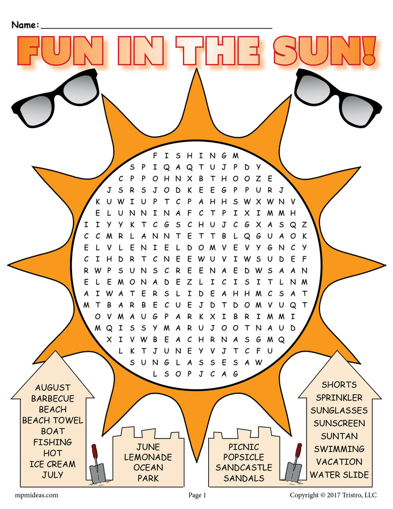 Printable Summer Word Search! - SupplyMe