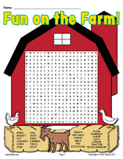 Free Printable Fun On The Farm Word Search - 2 Versions!
