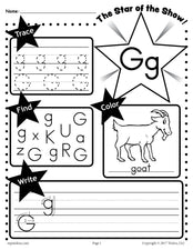 FREE Letter G Worksheet: Tracing, Coloring, Writing & More!