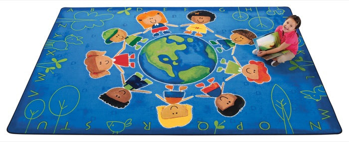 "Give the Planet a Hug Alphabet Classroom Rug, 3'10"" x 5'5"" Rectangle"