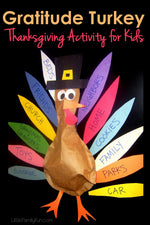 """Gratitude Turkey"" Thanksgiving Craftivity for Kids!"