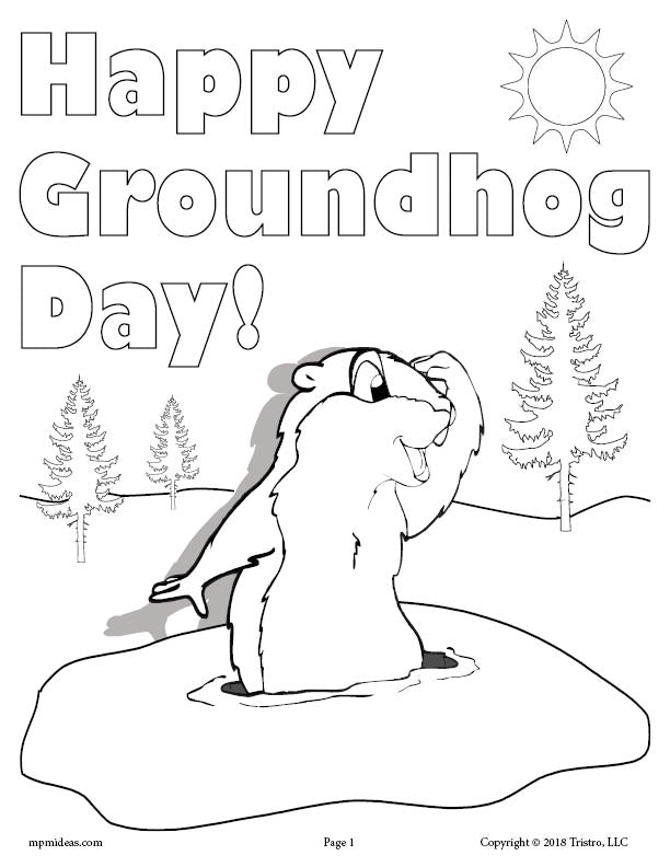 FREE Printable Groundhog Day Coloring Page!