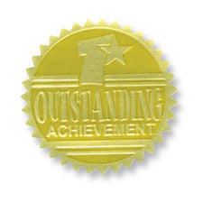 Gold Embossed Certificate Seals, Outstanding Achievement