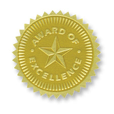 Gold Embossed Certificate Seals, Award of Excellence