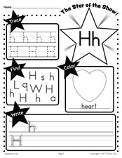 FREE Letter H Worksheet: Tracing, Coloring, Writing & More!