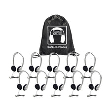 Sack-O-Phones, 10 HA2 Personal Headsets, Foam Ear Cushions in a Carry Bag