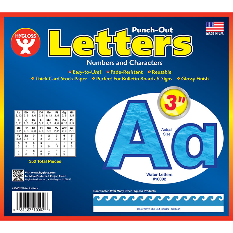 "Water 3"" Bulletin Board Letters"