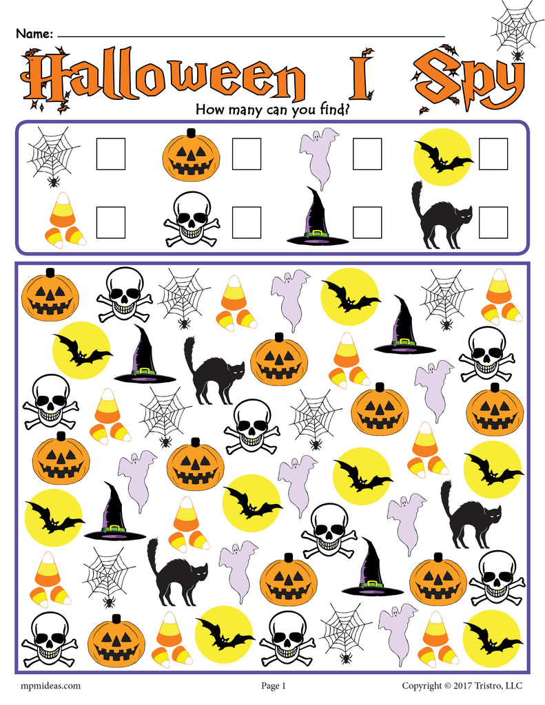graphic relating to Free Printable Halloween titled Halloween I Spy - Totally free Printable Halloween Counting