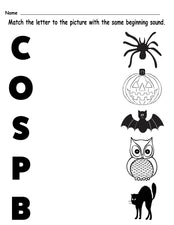 Printable Halloween Themed Letter Sounds Worksheet!