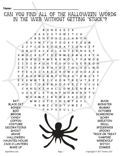 Challenger image inside halloween word search puzzle printable