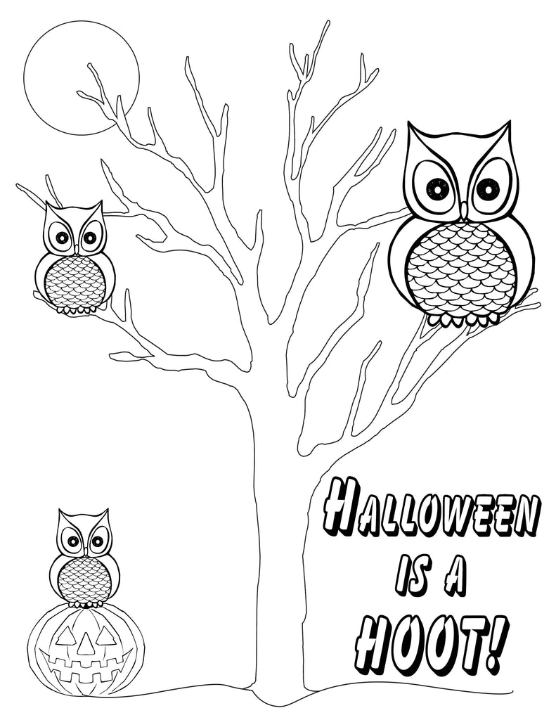 """Halloween Is A Hoot""! Free Printable Halloween Coloring Page"