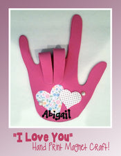 "Valentine's Day ""I Love You"" Hand Print Magnet Craft"