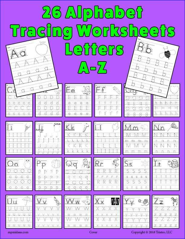 26 Alphabet Letter Tracing Worksheets - Uppercase and Lowercase!