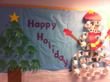 Happy Holidays Winter Snowman and Tree Bulletin Board Idea
