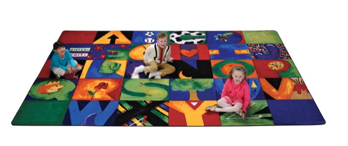 "Hide & Seek ABC Classroom Circle Time Rug, 7'6"" x 12' Rectangle"