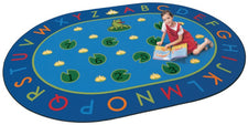 "Hip Hop to the Top Frog Alphabet Classroom Circle Time Rug, 6'9"" x 9'5"" Oval"