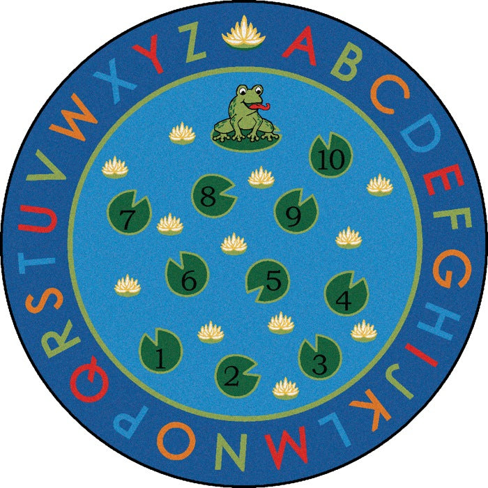 Hip Hop to the Top Frog Alphabet Classroom Circle Time Rug, 6' Round