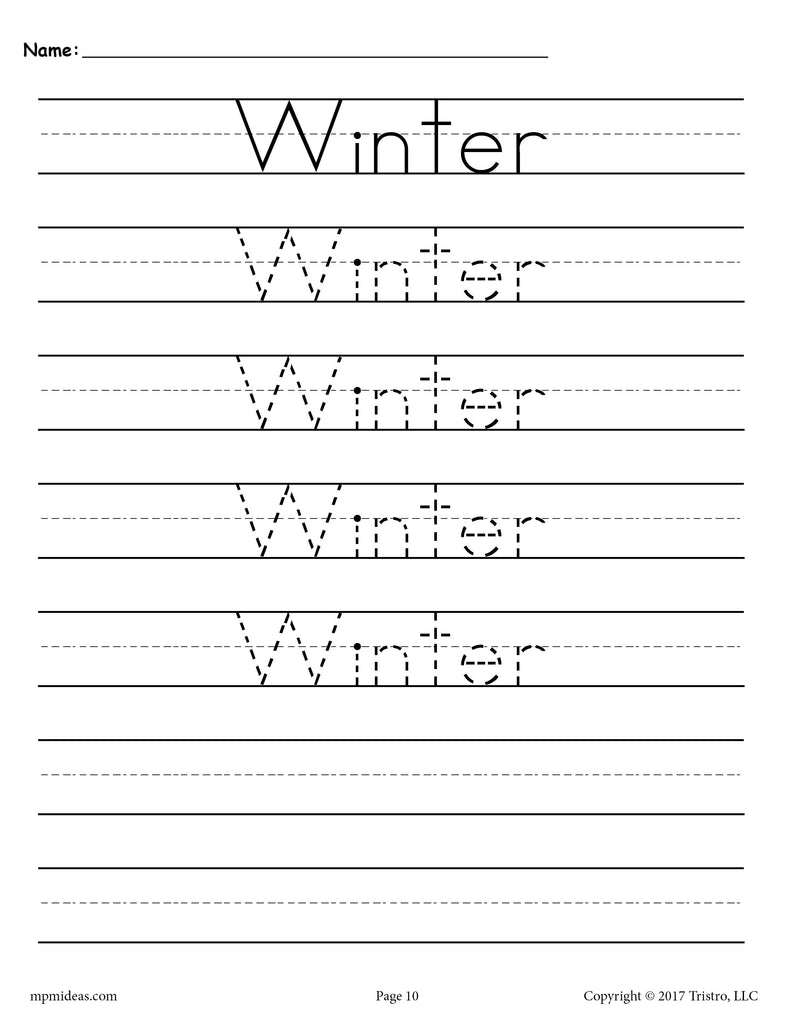 10 free handwriting worksheets seasons and holidays supplyme. Black Bedroom Furniture Sets. Home Design Ideas