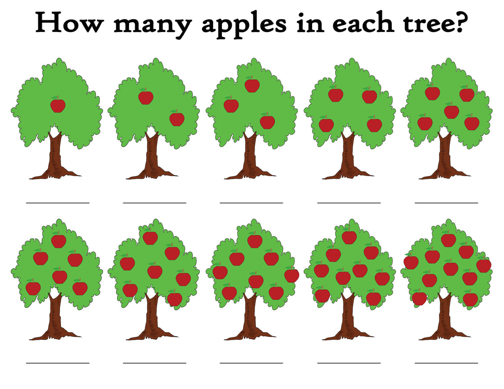 """How Many Apples In The Tree?"" FREE Printable Apple Themed Counting Wo"