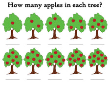 """How Many Apples In The Tree?"" FREE Printable Apple Themed Counting Worksheets"