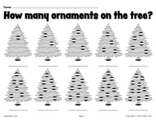 """How Many Ornaments On The Tree?"" Printable Christmas Counting Worksheets"