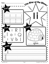 FREE Letter I Worksheet: Tracing, Coloring, Writing & More!