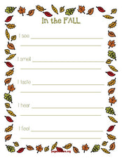 """In The Fall..."" Five Senses Printable Writing Activity"