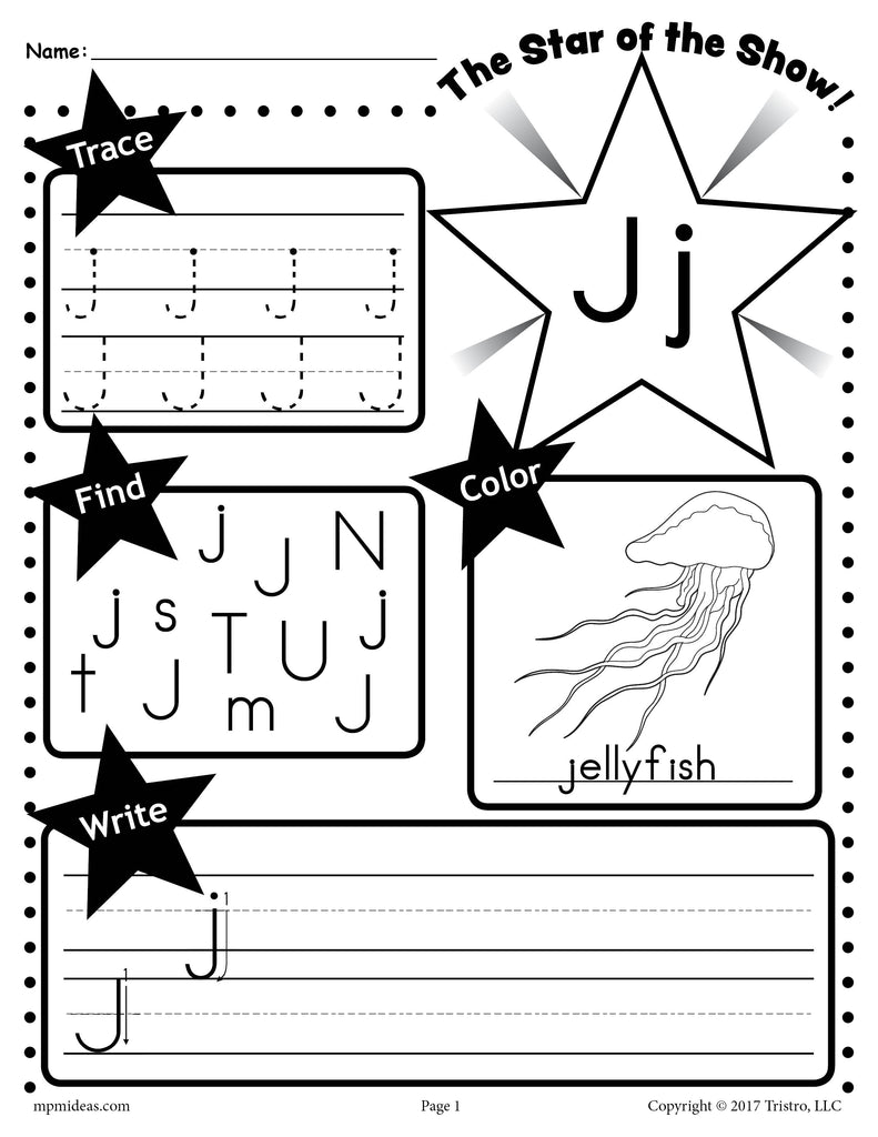 - Letter J Worksheet: Tracing, Coloring, Writing & More! – SupplyMe