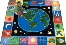 "EarthWorks© Classroom Rug, 7'7"" x 7'7"" Square"