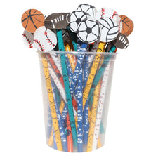 Pencil & Eraser Toppers, Sports - 36 Pack