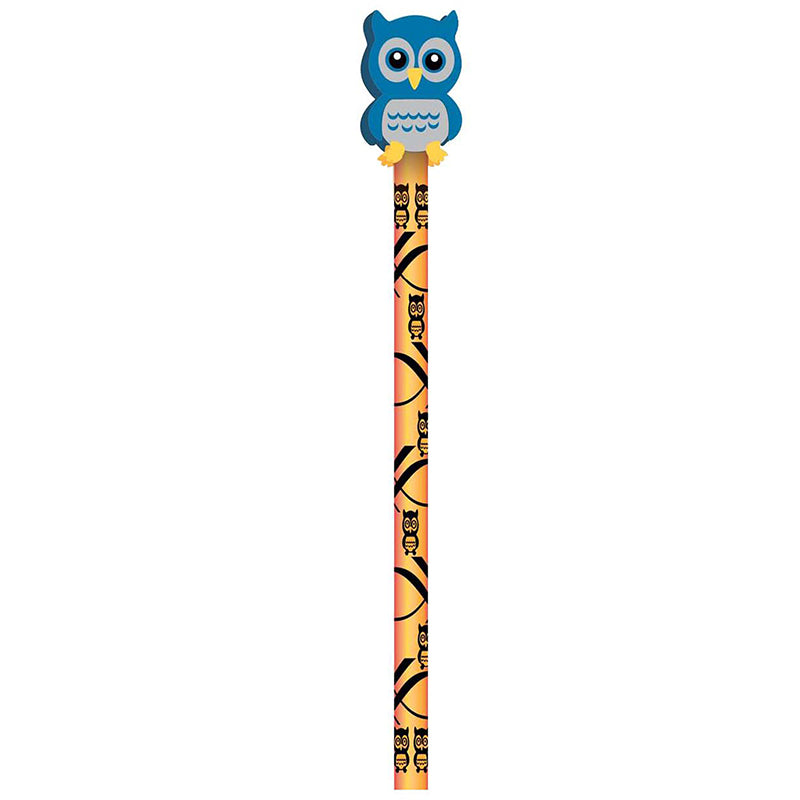 Pencil & Eraser Toppers, Owls - 36 Pack