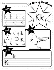 FREE Letter K Worksheet: Tracing, Coloring, Writing & More!