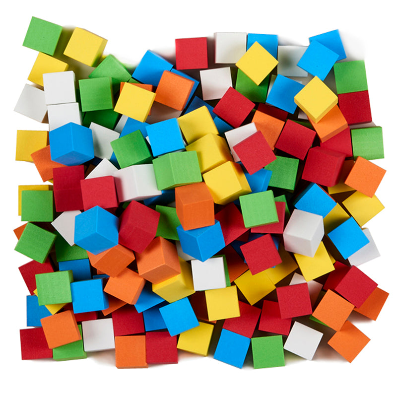 Blank Color Foam Dice, 200 Count Assorted
