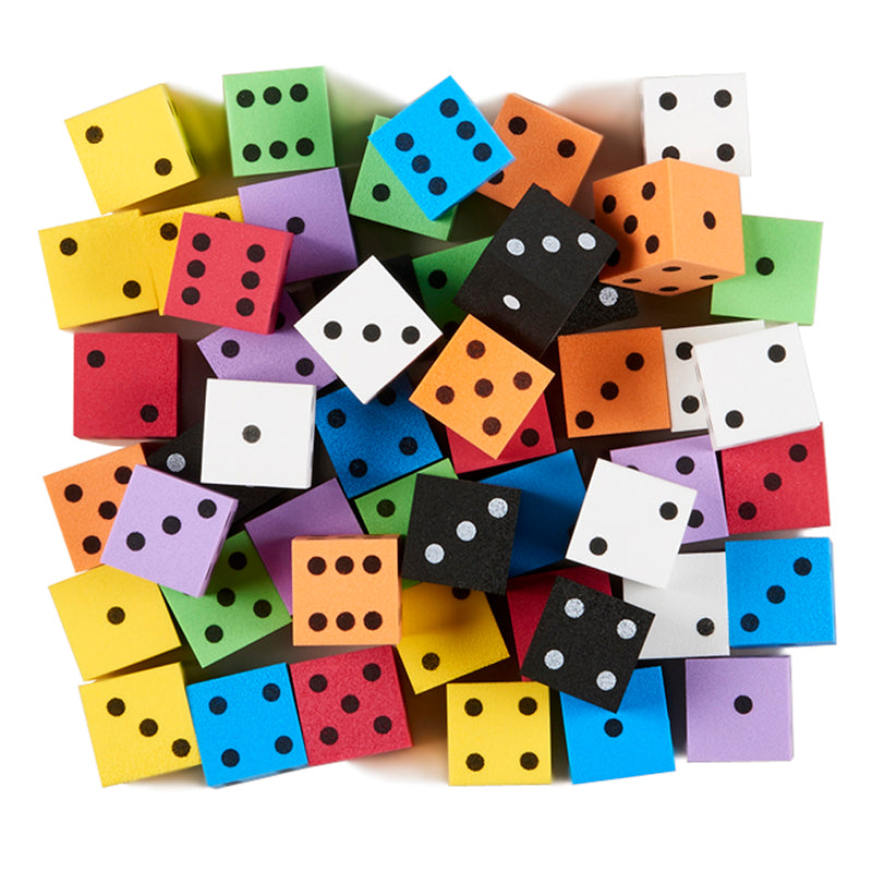 "1"" Foam Spotted Dice, Bag of 50 Assorted"