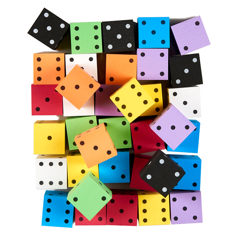 "2"" Foam Spotted Dice, Bag of 36 Assorted"