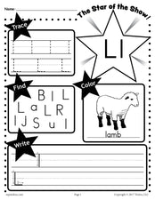 FREE Letter L Worksheet: Tracing, Coloring, Writing & More!