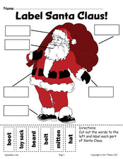 FREE Santa Claus Labeling Worksheets - Includes A Cut And Paste Worksheet & Writing Worksheet!