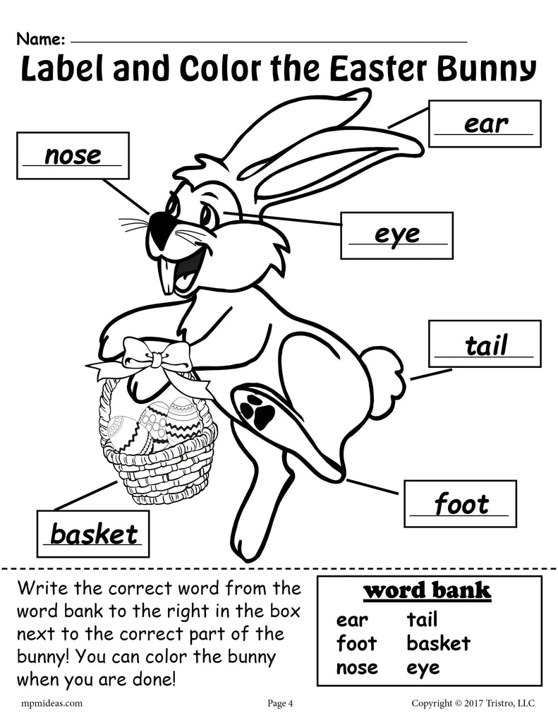Label The Easter Bunny 2 Free Printable Easter Worksheets