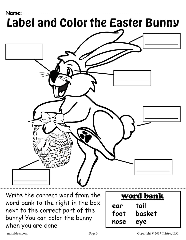 Label the Easter Bunny - 2 Printable Easter Worksheets Including A Cut And Paste Worksheet