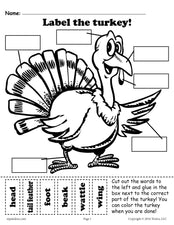 """Label the Turkey"" (2 Printable Versions)!"