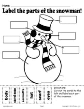 """Label the Snowman"" Worksheets (2 Printable Versions)!"