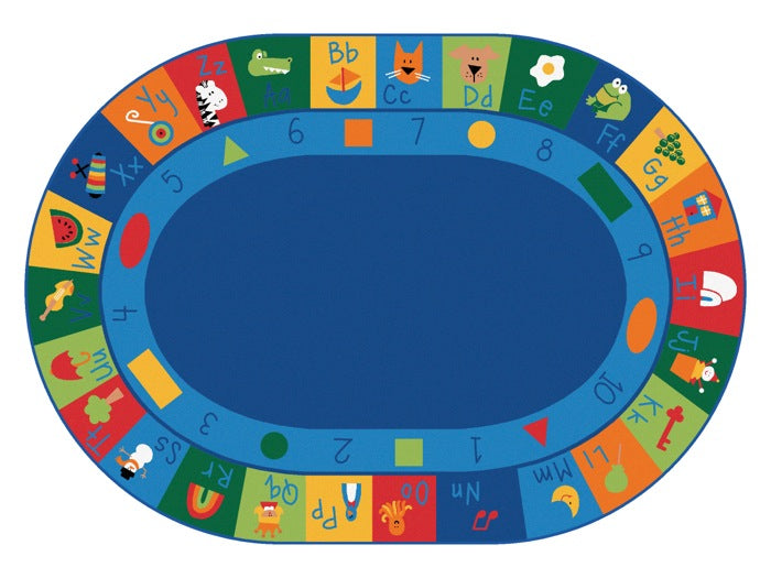 "Learning Blocks Alphabet & Numbers Classroom Circle Time Rug, 6'9"" x 9'5"" Oval"