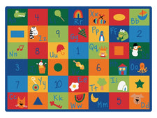 "Learning Blocks Alphabet & Numbers Classroom Rug, 4'5"" x 5'10"" Rectangle"