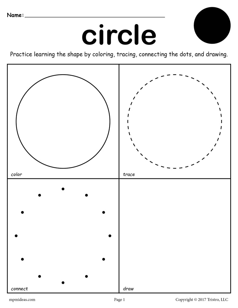 FREE Circle Shape Worksheet: Color, Trace, Connect, & Draw!