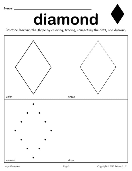 Free Diamond Worksheet Color Trace Connect Amp Draw