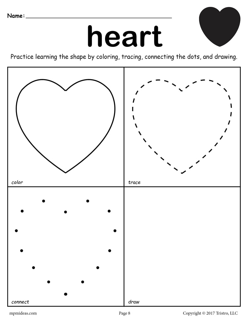 FREE Heart Shape Worksheet: Color, Trace, Connect, & Draw!