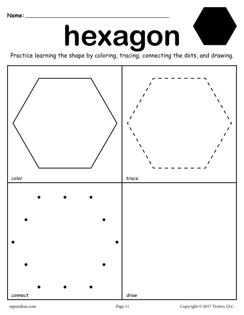 free hexagon worksheet color trace connect draw supplyme. Black Bedroom Furniture Sets. Home Design Ideas