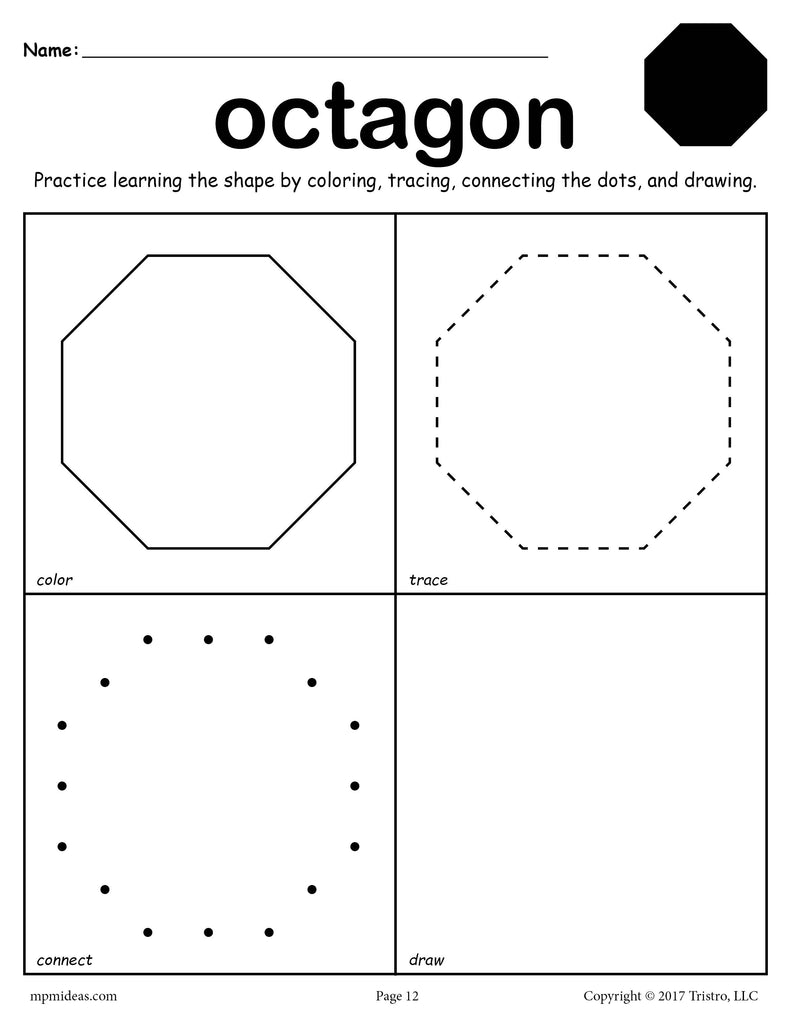 free octagon worksheet color trace connect draw supplyme. Black Bedroom Furniture Sets. Home Design Ideas