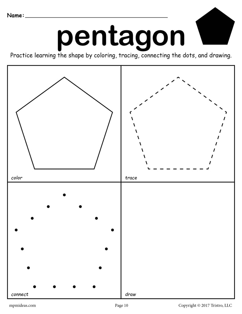 Free Pentagon Worksheet Color Trace Connect Amp Draw